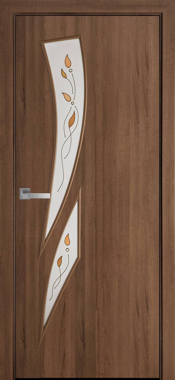 """Дверь межкомнатная """"Новый Стиль"""" модель Камея Р1, золотая ольха (стекло с рисунком)"""