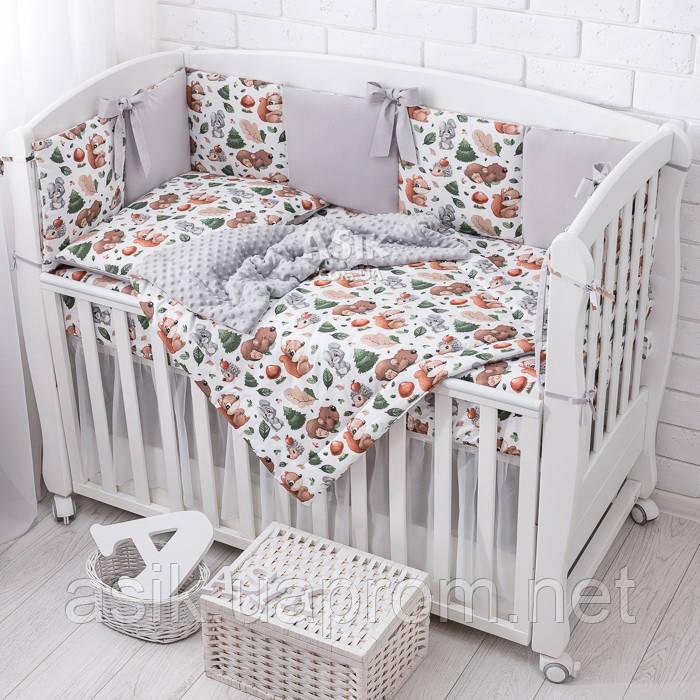"""Детская постель Asik """"Ёжики, зайчики, белочки и мишки в осеннем лесу"""" с бортиками на 3 стороны, №392"""
