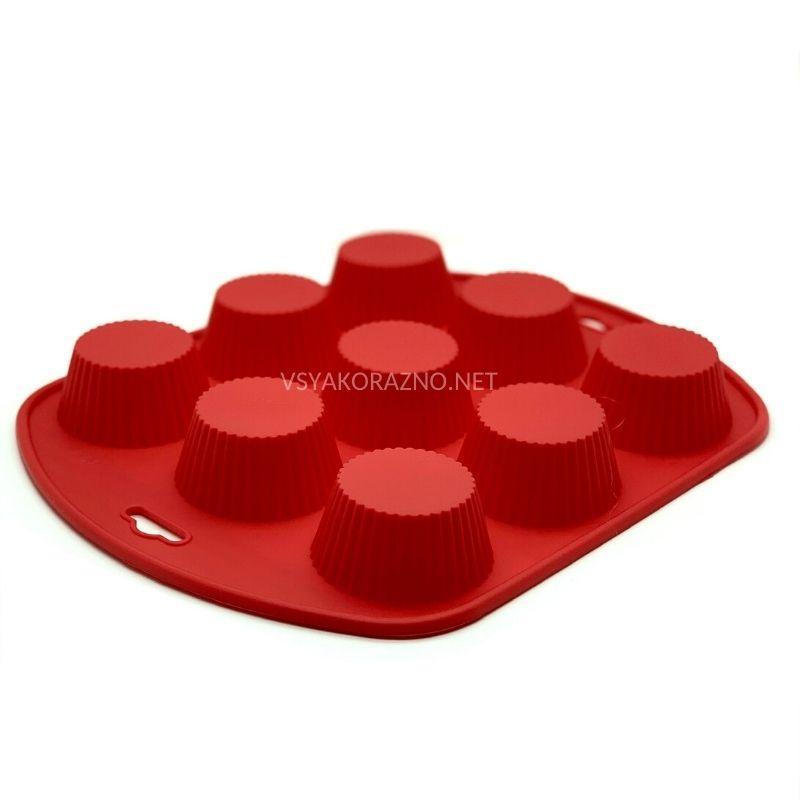 Силиконовая форма для выпечки в духовке 9 шт. (Франсуа) / Силіконова форма для випічки в духовці - красный