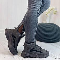 Черевики жіночі чорні, зимові з еко замші. Черевики жіночі теплі чорні на платформі, фото 3