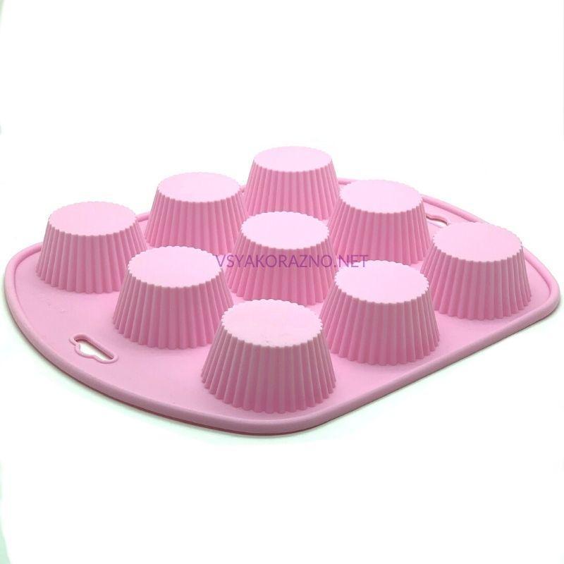 Силиконовая форма для выпечки в духовке 9шт. (Франсуа) / Силіконова форма для випічки в духовці - розовый
