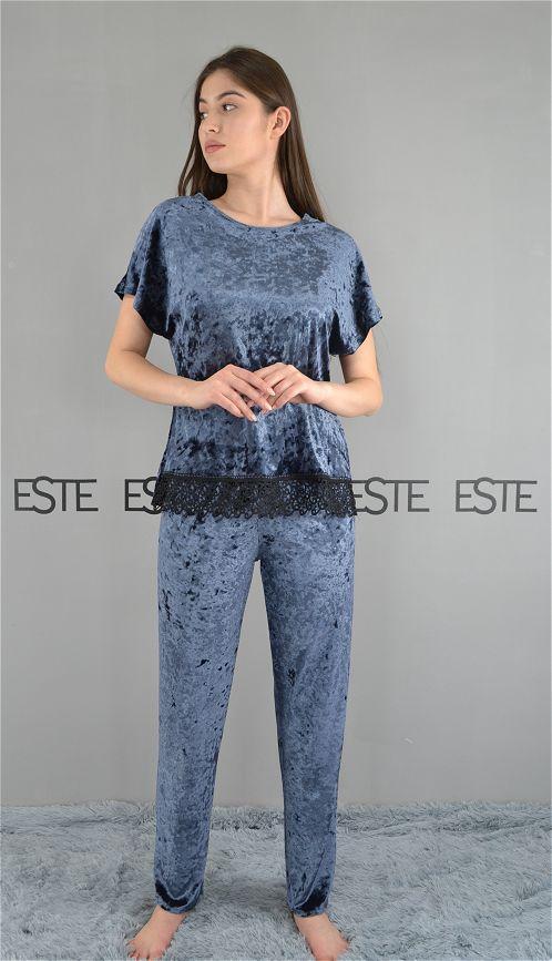 Пижама женская футболка и штаны велюр мрамор графит.