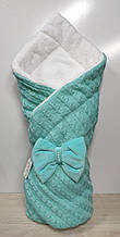 Одеяло-конверт вязанное для новорожденного на махре арт 3203 LARI. бирюза.