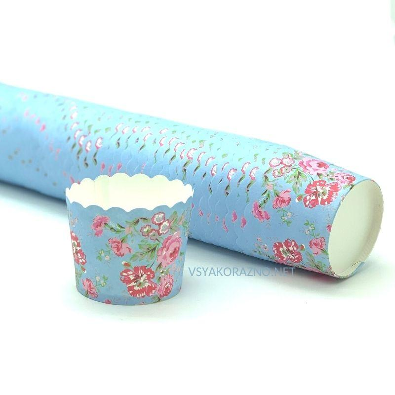 Бумажные формы для кексов и маффинов / Паперові форми для кексів і маффінів 50х50 мм (50 шт.) Голубые цветы