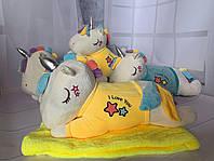 Игрушка мягкая подушка с пледом внутри Единорог спящий в свитере 3 в 1