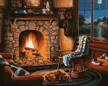 Картины по номерам 40×50 см Mariposa Тепло камина (Q 2245)