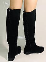 Натуральне хутро.Зимові чоботи-ботфорти на низькому каблуці. Натуральна шкіра. Люкс якість. Molka. Р. 36-40., фото 2