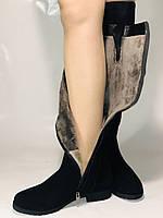 Натуральне хутро.Зимові чоботи-ботфорти на низькому каблуці. Натуральна шкіра. Люкс якість. Molka. Р. 36-40., фото 9