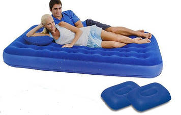 Надувной, двухспальный, двухместный, матрас, с подушками и насосом 203х152х22см, надувной матрас, bestway