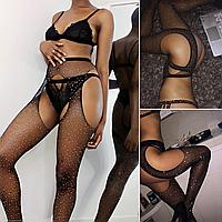 Черный комплект белья, чулки сетка со стразами с поясом, эротические женские колготы