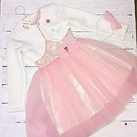 Платье для девочки нарядное+болеро белое(122,128,134)р HappyToT Украина ПЛ-2245