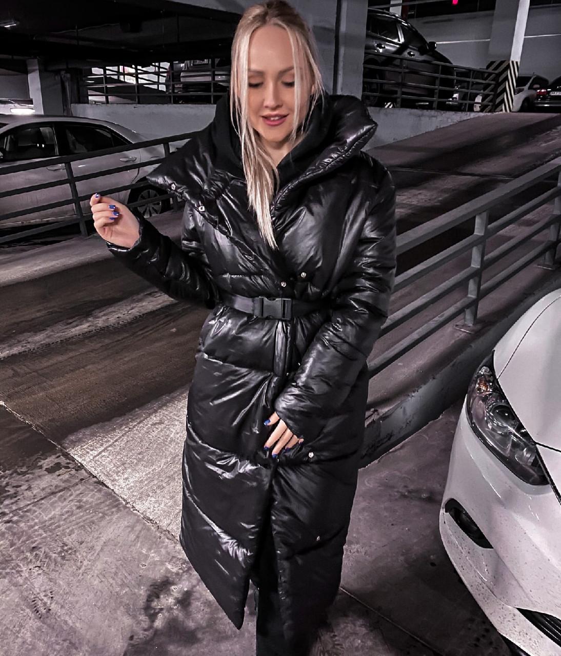 Женский чёрный зимний пуховик под пояс