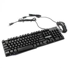 Проводная клавиатура с подсветкой LED и мышь PETRA MK1 Чёрный