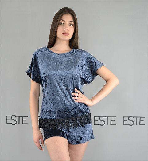 Женская пижама футболка и шорты Este велюровая с кружевом графит.