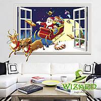Интерьерная наклейка 3D Рождественские Сани 50х70см, фото 1