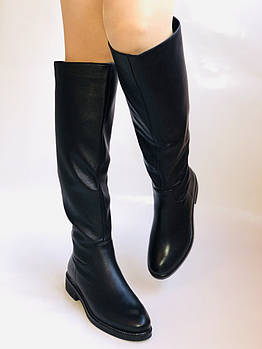 Molka. Натуральный мех. Зимние сапоги-ботфорты на низком каблуке. Натуральная кожа. Р. 38,39,40.