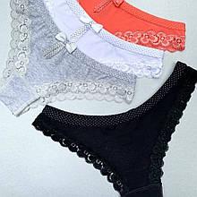 Трусики женские La Vivas 20152 с поясом в горошек, цвет Черный + Белый, размер М