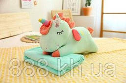 Плед-игрушка-подушка единорог голубой, плед на подарок ребенку 3 в 1. Р. 160х110 см