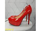 Туфли красные на шпильке с платформой К2230-4, фото 5