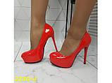 Туфли красные на шпильке с платформой К2230-4, фото 3