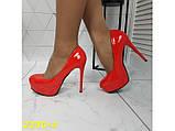 Туфли красные на шпильке с платформой К2230-4, фото 7