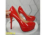 Туфли красные на шпильке с платформой К2230-4, фото 8