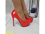 Туфли красные на шпильке с платформой К2230-4, фото 4