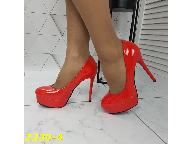 Туфли красные на шпильке с платформой К2230-4
