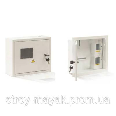Щиток металлический для 1-фазного счетчика и 8-ми автоматов, наружный (195х355х135мм)