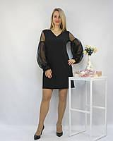 Коктейльное платье черное с объемными рукавами и жемчугом ЛЮКС-качество вечернее новогоднее