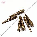 Металлические филигранные конусы для бусин 41 мм для рукоделия цвет бронза, фото 2