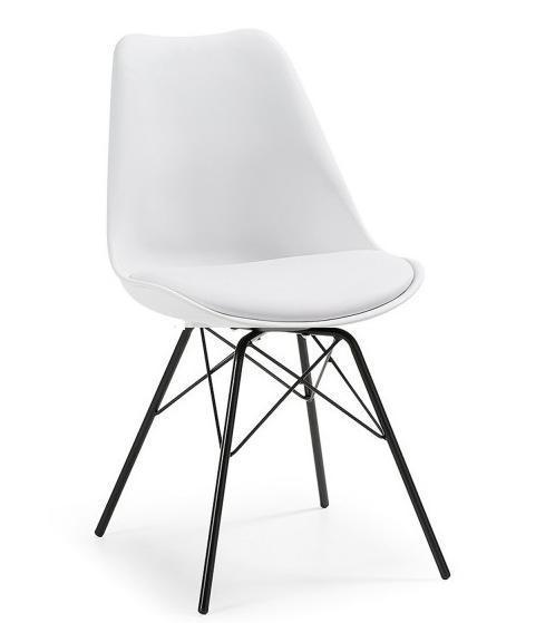 Обеденный стул Тау мягкое сидение белое металлические ножки черные