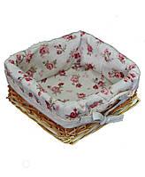Хлебница декоративная ТМ Прованс red rose с мережкой плетенная с чехлом