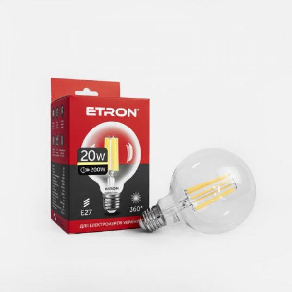 Винтажная Led лампа Эдисона 20w Шар G95 Е27 Etron 4200К 1-EFP-172