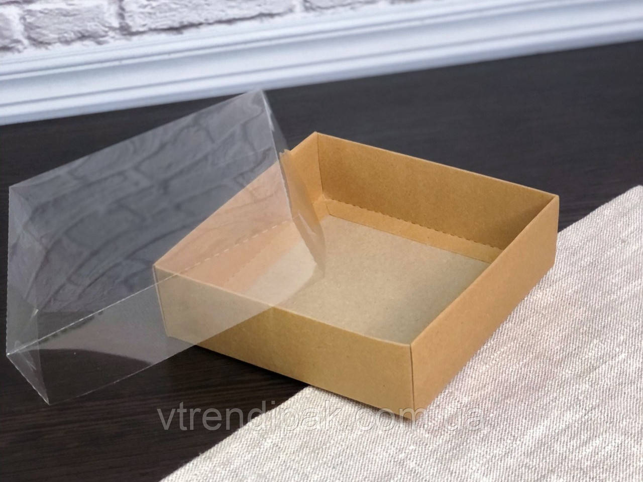 Коробка для пряника 120*120*35 Крафт з прозорою кришкою ПВХ