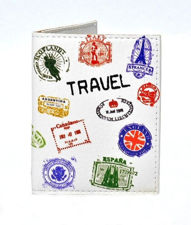 Обложка на ID паспорт Travel штампы, Обложки на ID-карты и пластиковые права
