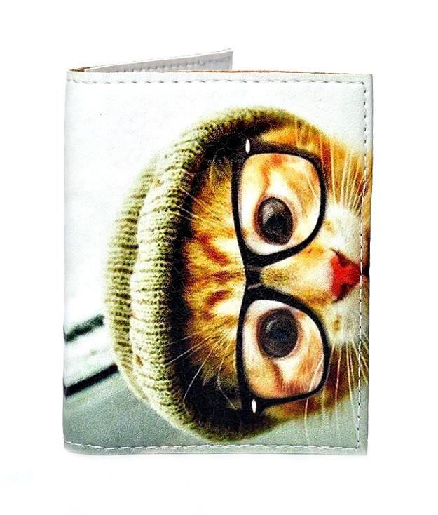 Обложка на ID паспорт Кот в очках, Обложки на ID-карты и пластиковые права