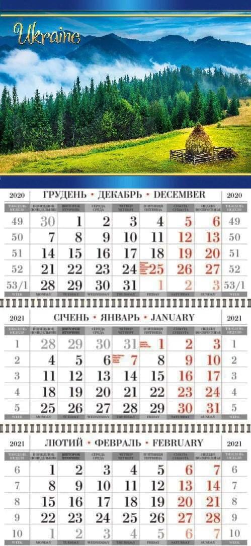 Календарь квартальный (3-пружинный) Природа 2021
