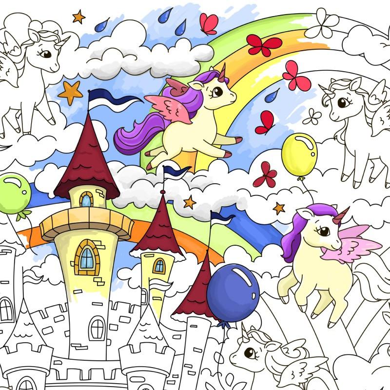 Плакат-раскраска Единорожки, Раскраски для детей