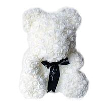 Мишка из 3D роз 25 см в красивой подарочной упаковке мишка Тедди из роз Белый, лучший подарок для девушки!