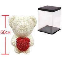Мишка из 3D роз 60 см в красивой подарочной упаковке мишка Тедди из роз Белый, лучший подарок для девушки!