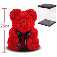 Мишка из 3D роз 25 см в красивой подарочной упаковке мишка Тедди из роз Красный, лучший подарок для девушки!