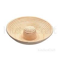 Корзина для расстойки и формовки теста из ротанга (круг с отверстием) 28x6.5 с