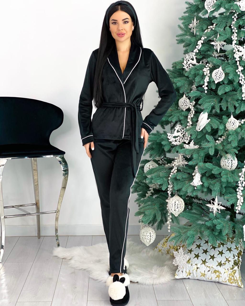 Женский чёрный домашний костюм с повязкой