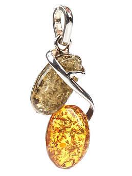 Кулон с янтарем серебряный