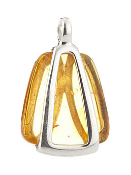 Подвеска с янтарем серебряная