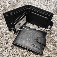 Классический черный мужской кожаный кошелёк Horton