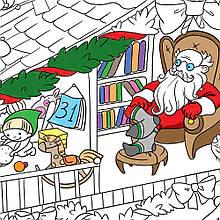 Плакат-раскраска Новогодняя. Дом Санта Клауса, Раскраски для детей