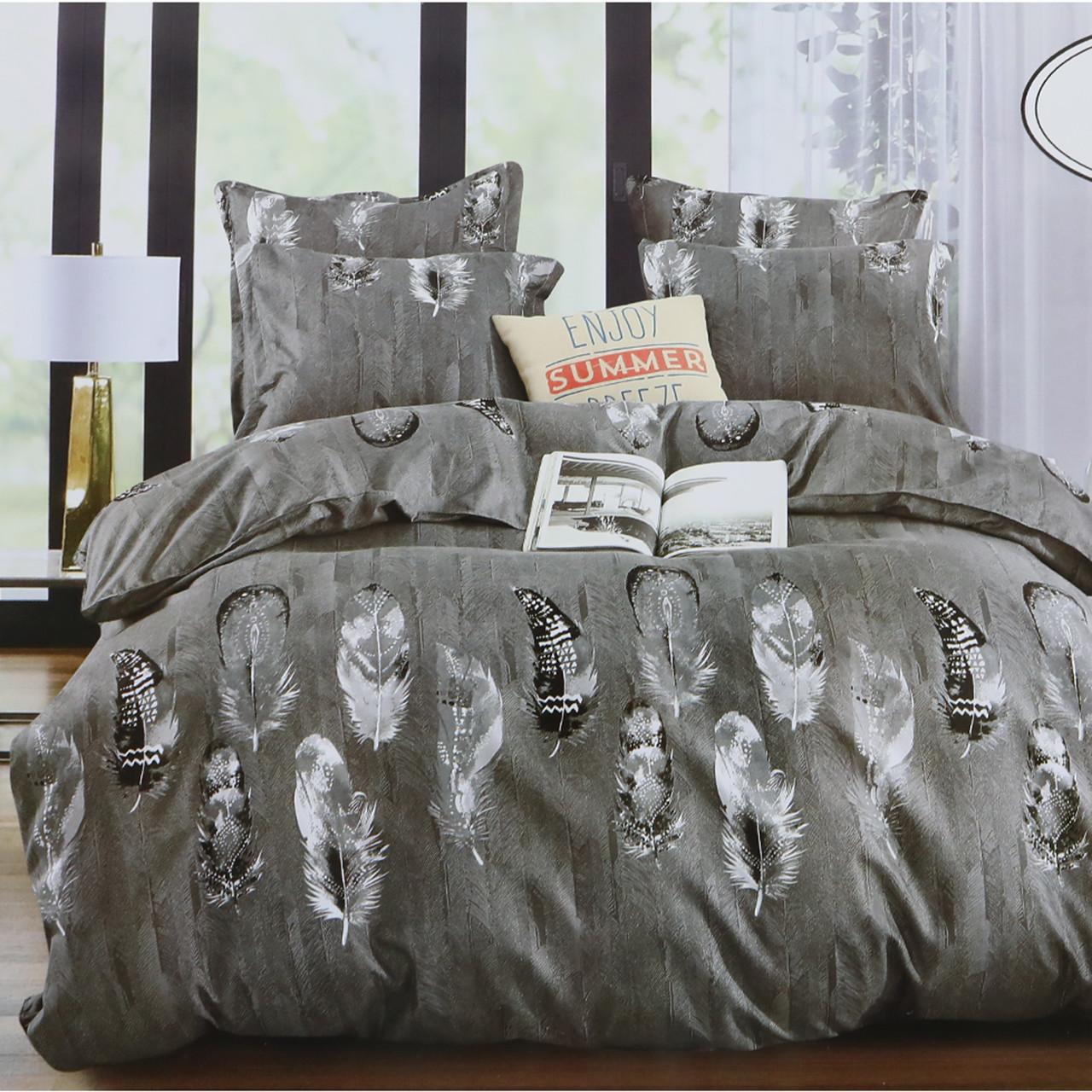 Комплект постельного белья Koloco серый полуторный Перья 150x210см