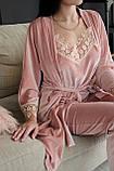 Женская бархатная пижама четверка, фото 5